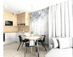mieszkanie do wynajęcia - Mała otwarta szara kuchnia w kształcie litery l w aneksie z oknem, styl n ... - zdjęcie od Stylownia Wnętrz Projektownie i aranżacja wnętrz - Homebook
