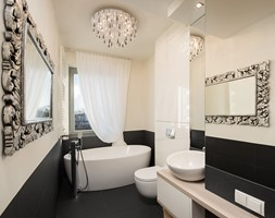 Łazienka glamour z wanną wolnostojącą - zdjęcie od Monika Staniec Interior Design