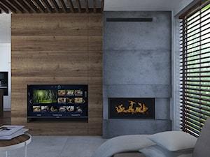 Salon z kominkiem - zdjęcie od Monika Staniec Interior Design