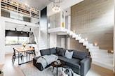 Salon z klatką schodową - zdjęcie od Monika Staniec Interior Design - Homebook