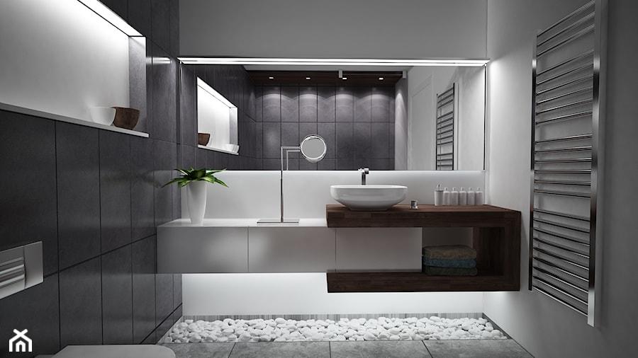 Średnia biała czarna łazienka, styl nowoczesny - zdjęcie od Zibi_C