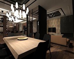 PENTHOUSE W KATOWICACH - Duża otwarta czarna jadalnia w salonie - zdjęcie od Magdalena Sidor