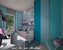 Pokój dziewczynki - Mały szary niebieski pokój dziecka dla dziewczynki dla ucznia dla nastolatka, styl nowoczesny - zdjęcie od mo_de_in_studio _ chudy monika