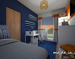 Pokój chłopca - Średni biały niebieski pomarańczowy pokój dziecka dla chłopca dla ucznia dla nastolatka, styl nowoczesny - zdjęcie od mo_de_in_studio _ chudy monika