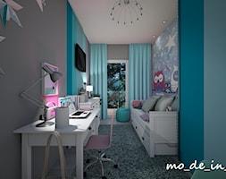 Pokój dziewczynki - Mały szary niebieski pokój dziecka dla dziewczynki dla ucznia dla malucha, styl nowoczesny - zdjęcie od mo_de_in_studio _ chudy monika