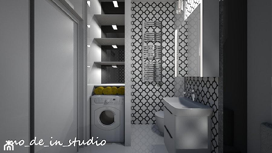 Mała łazienka - Mała biała łazienka w bloku w domu jednorodzinnym bez okna, styl skandynawski - zdjęcie od mo_de_in_studio _ chudy monika