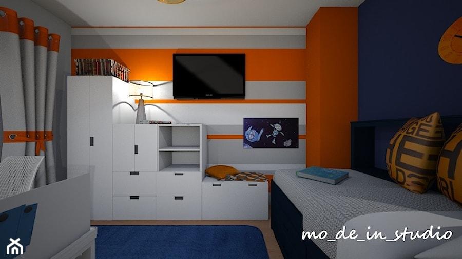 Pokój chłopca - Mały szary pomarańczowy pokój dziecka dla chłopca dla nastolatka, styl nowoczesny - zdjęcie od mo_de_in_studio _ chudy monika
