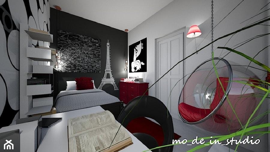 Pokój młodzieżowy - Mały średni biały czarny pokój dziecka dla chłopca dla dziewczynki dla ucznia dla nastolatka, styl nowoczesny - zdjęcie od mo_de_in_studio _ chudy monika