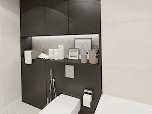 APARTAMENT 38 m WARSZAWA - Mała beżowa czarna łazienka w bloku bez okna, styl prowansalski - zdjęcie od THE VIBE