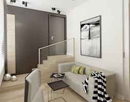 DOM W STYLU EKO WARSZAWA URSUS - Średnie czarne szare biuro domowe kącik do pracy w pokoju, styl minimalistyczny - zdjęcie od THE VIBE