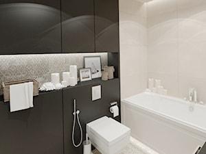 APARTAMENT 38 m WARSZAWA - Mała czarna szara łazienka na poddaszu w bloku w domu jednorodzinnym bez okna, styl prowansalski - zdjęcie od THE VIBE