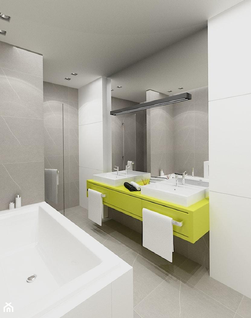 DOM W STYLU EKO WARSZAWA URSUS - Średnia szara łazienka w bloku bez okna, styl nowoczesny - zdjęcie od THE VIBE - Homebook