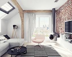 Mieszkanie na poddaszu - Mały biały salon z tarasem / balkonem - zdjęcie od Illa Design