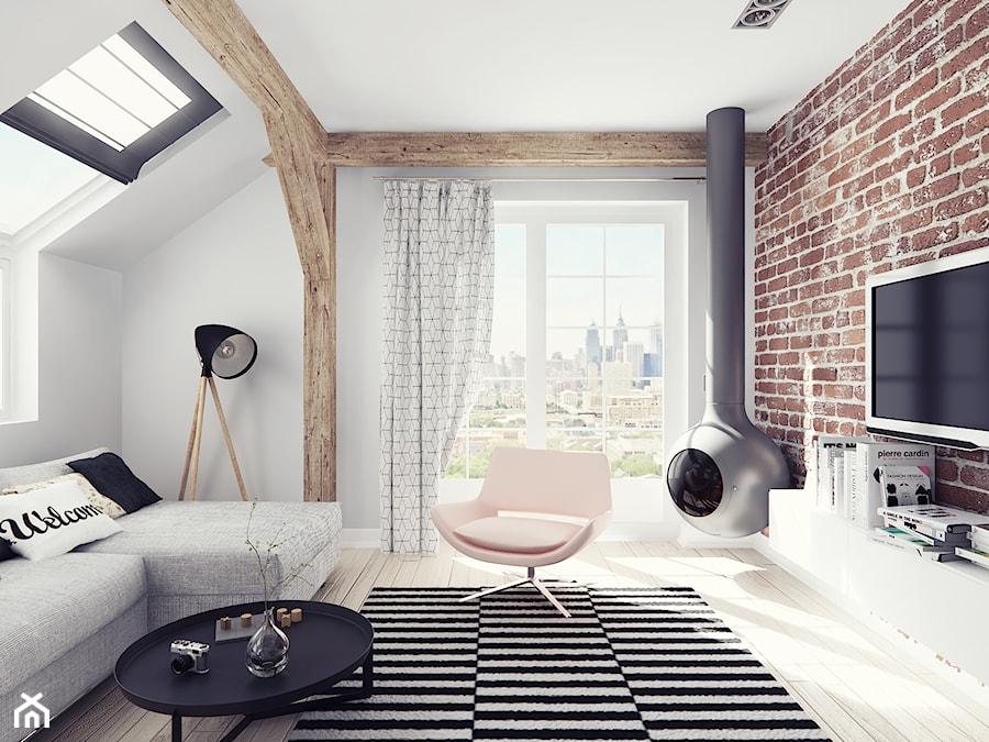 Aranżacje wnętrz - Salon: Mieszkanie na poddaszu - Mały biały salon z tarasem / balkonem - Illa Design. Przeglądaj, dodawaj i zapisuj najlepsze zdjęcia, pomysły i inspiracje designerskie. W bazie mamy już prawie milion fotografii!