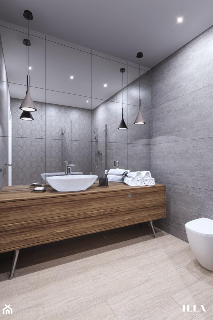 Mieszkanie w czarno - białych tonacjach - Średnia szara łazienka, styl nowoczesny - zdjęcie od Illa Design