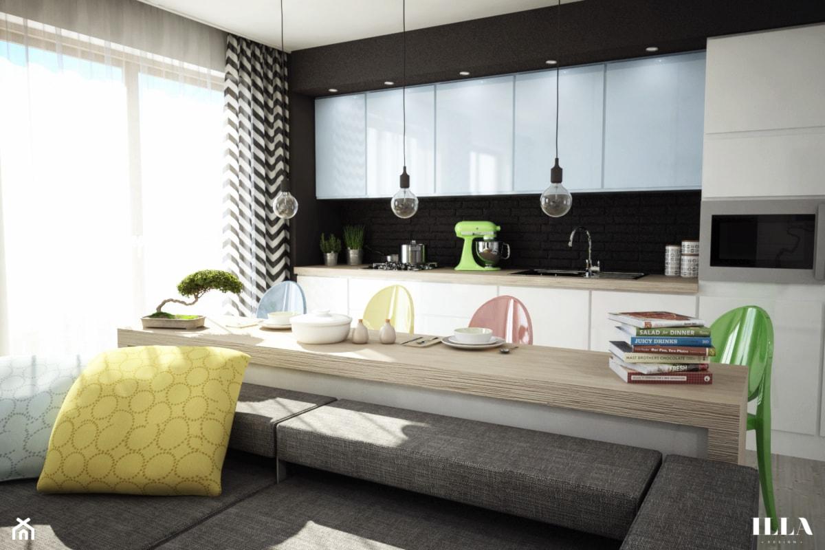 Jasne mieszkanie w optymistycznych barwach - Mała czarna kuchnia jednorzędowa w aneksie - zdjęcie od Illa Design - Homebook