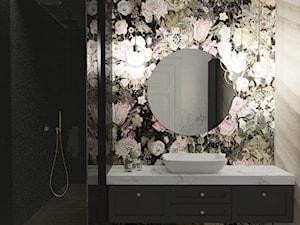 Łazienka inna niż wszystkie - Mała czarna szara łazienka w bloku w domu jednorodzinnym bez okna, styl art deco - zdjęcie od Illa Design