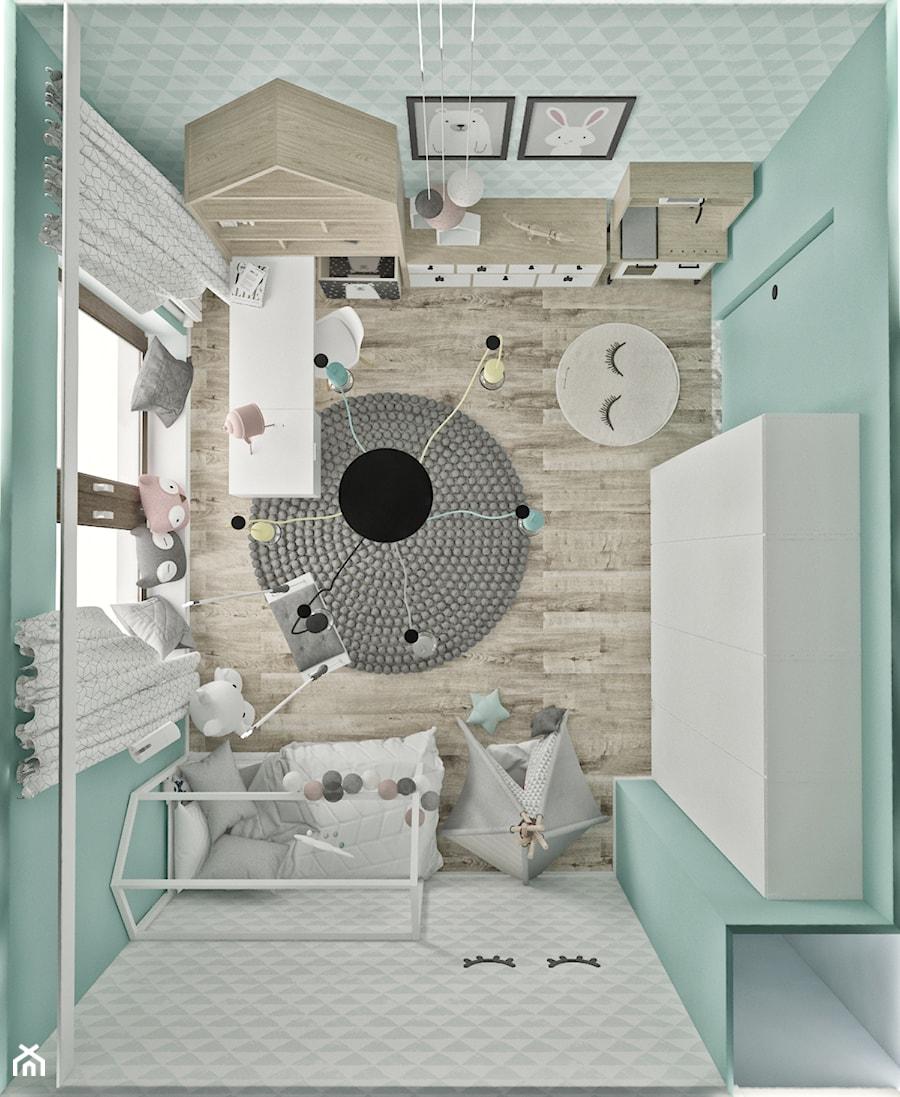 Mieszkanie w skandynawskim stylu - Średni szary niebieski pokój dziecka dla chłopca dla dziewczynki dla ucznia dla malucha dla nastolatka, styl skandynawski - zdjęcie od Illa Design