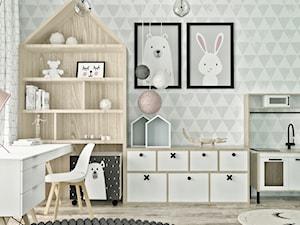 Mieszkanie w skandynawskim stylu - Mały szary zielony pokój dziecka dla chłopca dla dziewczynki dla ucznia dla malucha dla nastolatka, styl skandynawski - zdjęcie od Illa Design