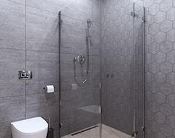Mieszkanie w czarno - białych tonacjach - Średnia szara łazienka bez okna, styl nowoczesny - zdjęcie od Illa Design