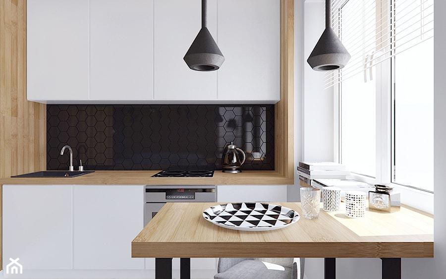 Mieszkanie z elementami drewna  Mała otwarta kuchnia