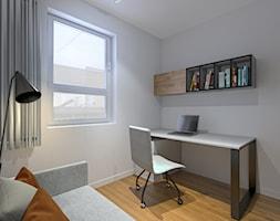 Nowoczesna Boazeria - Małe białe biuro domowe kącik do pracy w pokoju, styl nowoczesny - zdjęcie od Pracownia InSide