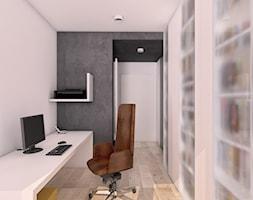 Rude wnętrze - Średnie szare białe biuro kącik do pracy w pokoju, styl nowoczesny - zdjęcie od Pracownia InSide