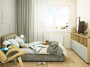 Ciepłe Szarości - Średnia biała szara sypialnia małżeńska, styl skandynawski - zdjęcie od Pracownia InSide
