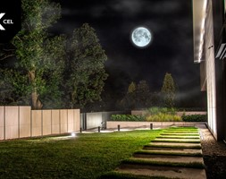 Pełnia księżyca nad nowoczesnym ogrodzeniem - zdjęcie od XCEL Ogrodzenia - Homebook
