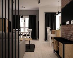 ODROBINA SKANDYNAWII - Mały szary biały salon z barkiem z kuchnią z jadalnią z tarasem / balkonem, styl skandynawski - zdjęcie od TAKE [DESIGN]
