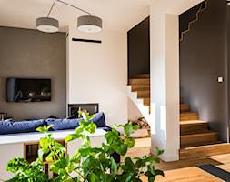 PROJEKT WNĘTRZA DOMU, WROCŁAW - FABRYCZNA - Mały szary beżowy salon, styl minimalistyczny - zdjęcie od TAKE [DESIGN] - Homebook