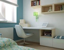 MIESZKANIE W ŚWIDNICY - Średni biały niebieski pokój dziecka dla chłopca dla dziewczynki dla nastolatka, styl tradycyjny - zdjęcie od TAKE [DESIGN]
