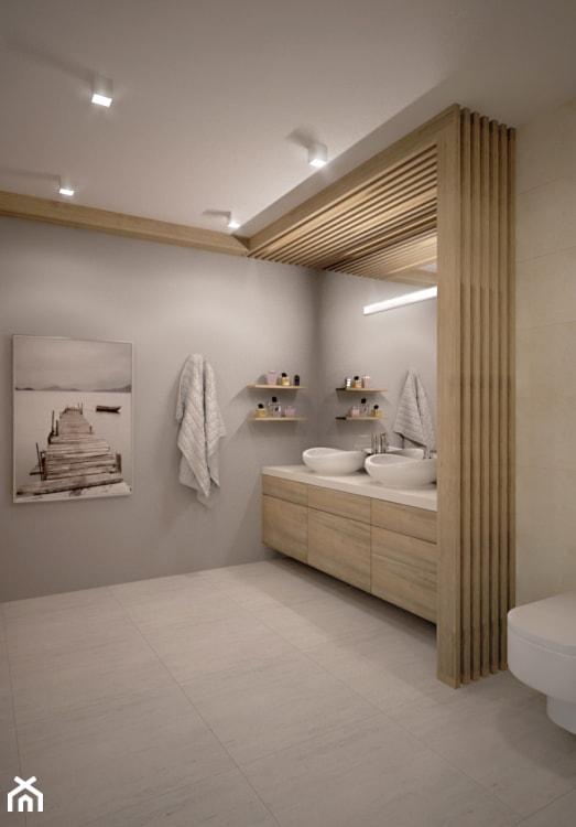 PRZESTRONNA ŁAZIENKA - Duża beżowa szara łazienka w domu jednorodzinnym bez okna, styl nowoczesny - zdjęcie od TAKE [DESIGN]