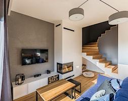 PROJEKT WNĘTRZA DOMU, WROCŁAW - FABRYCZNA - Średni szary biały salon, styl minimalistyczny - zdjęcie od TAKE [DESIGN] - Homebook