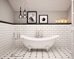 MIESZKANIE NA PODDASZU - Średnia łazienka w domu jednorodzinnym jako salon kąpielowy bez okna, styl klasyczny - zdjęcie od TAKE [DESIGN]