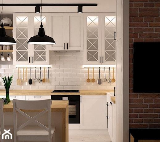 odrobina skandynawii rednia otwarta kuchnia dwurz dowa w aneksie styl skandynawski zdj cie. Black Bedroom Furniture Sets. Home Design Ideas