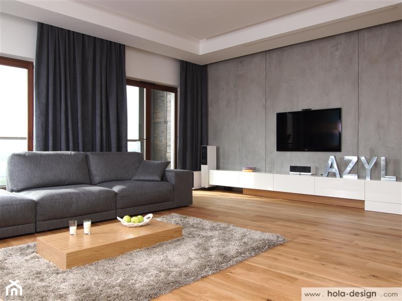Aranżacje wnętrz - Salon: HOLA_9 - Duży szary biały salon z tarasem / balkonem - HOLA DESIGN. Przeglądaj, dodawaj i zapisuj najlepsze zdjęcia, pomysły i inspiracje designerskie. W bazie mamy już prawie milion fotografii!