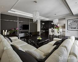 HOLA_27 - Duży biały czarny salon z kuchnią z jadalnią, styl nowoczesny - zdjęcie od HOLA DESIGN
