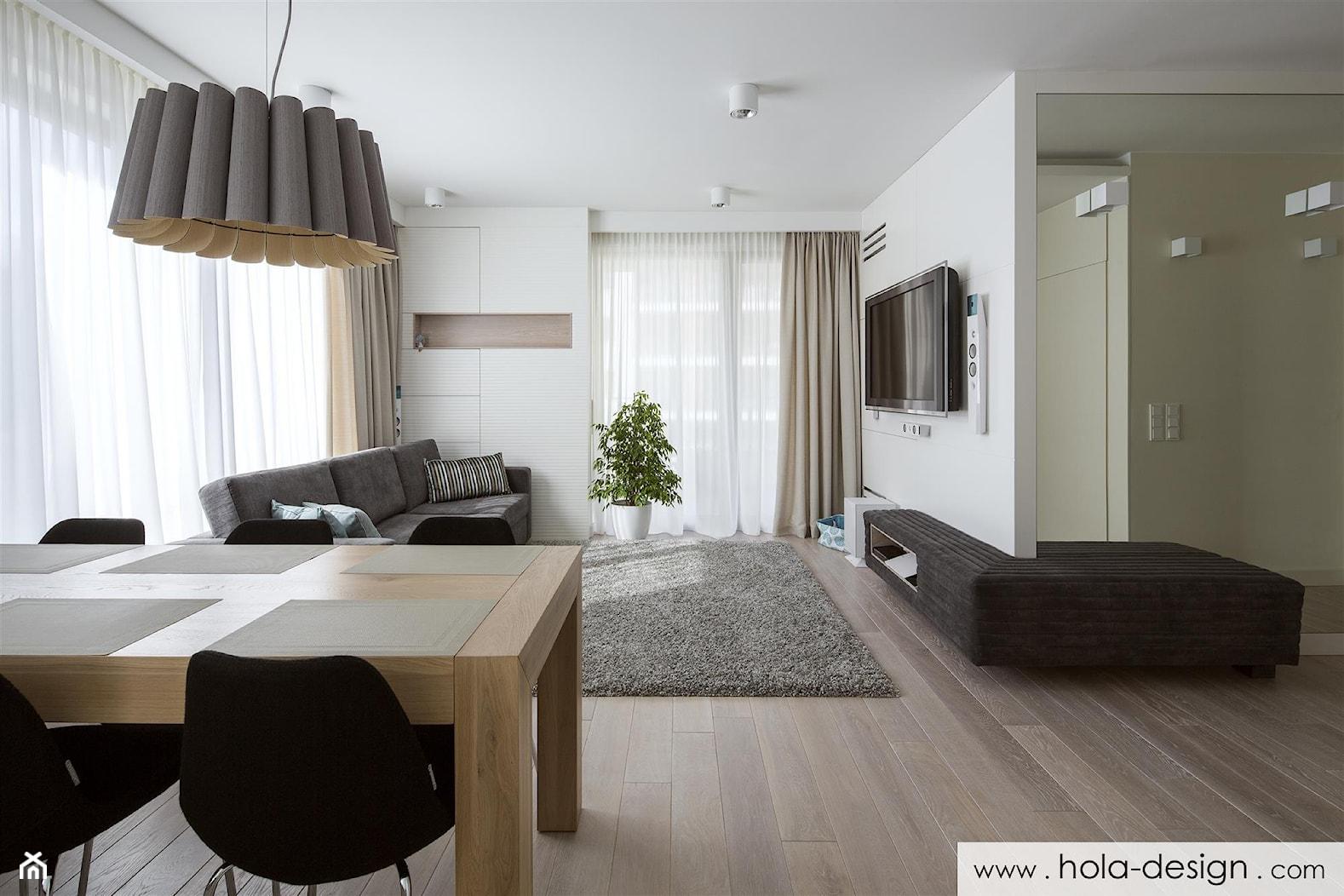 HOLA_19 - Średni biały beżowy salon z jadalnią, styl minimalistyczny - zdjęcie od HOLA DESIGN - Homebook