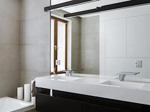 Wspaniała łazienka, wspaniały projekt. Uwagę przyciąga podwójna umywalka z blatem. Zapraszamy do współpracy i na www.luxum.pl
