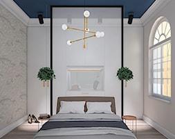 MIESZKANIE W KAMIENICY - Średnia beżowa biała szara sypialnia małżeńska - zdjęcie od LUIZA STAR - Homebook