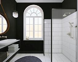 MIESZKANIE W KAMIENICY - Średnia biała czarna łazienka z oknem - zdjęcie od LUIZA STAR - Homebook
