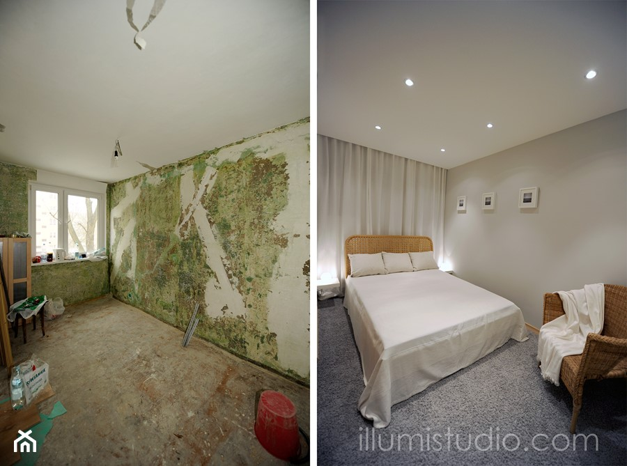 MIESZKANIE W BLOKU - zdjęcia z realizacji - metamorfoza 36 m2 w bloku. - Średnia szara sypialnia małżeńska, styl minimalistyczny - zdjęcie od ILLUMISTUDIO
