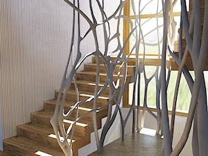 Projekt wnętrz - Średnie wąskie schody dwubiegowe wachlarzowe drewniane betonowe, styl nowoczesny - zdjęcie od Pracownia Projektowa Architektury Krajobrazu Januszówka