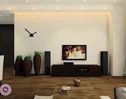 Grafit z drewnem - Mały biały salon z jadalnią, styl minimalistyczny - zdjęcie od Fabryka Nastroju