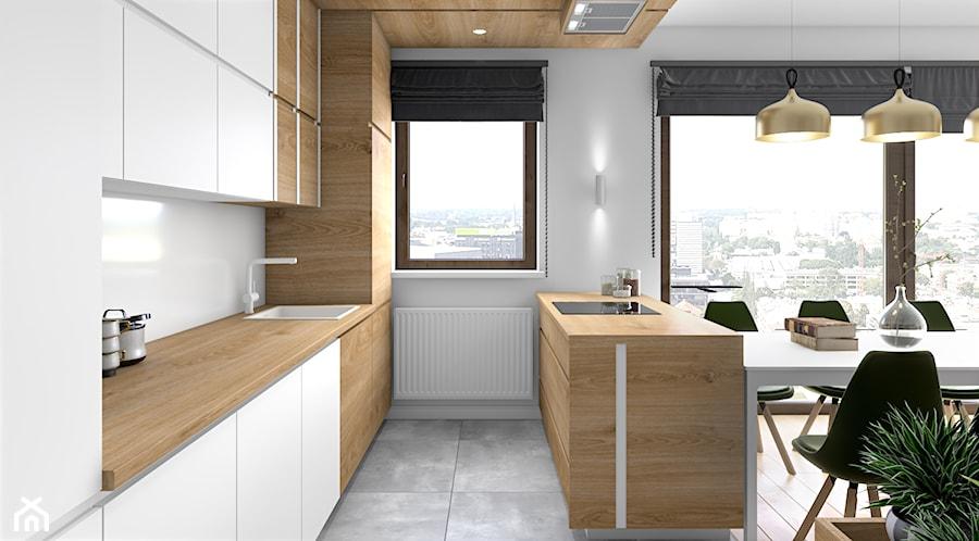 Aranżacje wnętrz - Kuchnia: Drewno i zieleń - Średnia biała kuchnia jednorzędowa w aneksie z wyspą z oknem, styl minimalistyczny - Fabryka Nastroju Izabela Szewc. Przeglądaj, dodawaj i zapisuj najlepsze zdjęcia, pomysły i inspiracje designerskie. W bazie mamy już prawie milion fotografii!