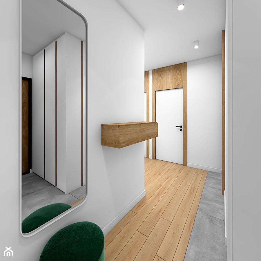 Drewno i zieleń - Duży biały hol / przedpokój, styl skandynawski - zdjęcie od Fabryka Nastroju Izabela Szewc