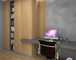 Dom z betonem - Średnie szare biuro domowe w pokoju, styl minimalistyczny - zdjęcie od Fabryka Nastroju Izabela Szewc