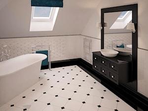 Stylowe szarości - Średnia beżowa łazienka na poddaszu w domu jednorodzinnym z oknem, styl klasyczny - zdjęcie od Fabryka Nastroju Izabela Szewc