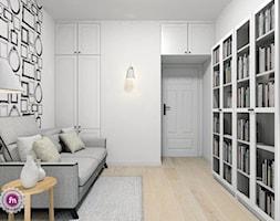 Artystycznie na Żoliborzu - Małe białe biuro domowe w pokoju, styl skandynawski - zdjęcie od Fabryka Nastroju Izabela Szewc